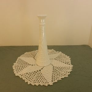 "Vintage Milk Glass Flower Bud Vase Bottle 8 3/4""T"